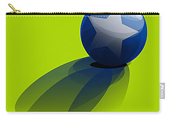 Carry-all Pouch featuring the digital art Blue Ball Decorated With Star Green Background by R Muirhead Art
