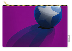 Carry-all Pouch featuring the digital art Blue Ball Decorated With Star Purple Background by R Muirhead Art