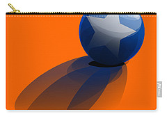 Carry-all Pouch featuring the digital art Blue Ball Decorated With Star Orange Background by R Muirhead Art