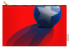 Carry-all Pouch featuring the digital art Blue Ball Decorated With Star Red Background by R Muirhead Art