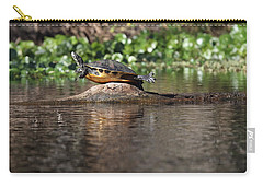 Carry-all Pouch featuring the photograph Cooter On Alligator Log by Paul Rebmann