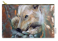 Copper Arctic Wolf Carry-all Pouch by Sandi Baker