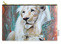 Copper White Lion Carry-all Pouch by Sandi Baker