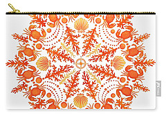 Coral Crab Mandala Carry-all Pouch by Stephanie Troxell