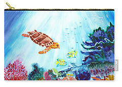 Carry-all Pouch featuring the painting Coral Reef by Donna Walsh