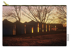Carry-all Pouch featuring the photograph Corn Cribs At Sunset by Rodney Lee Williams