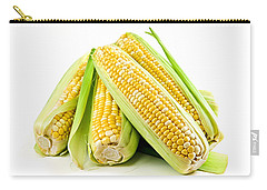 Corn Ears On White Background Carry-all Pouch by Elena Elisseeva