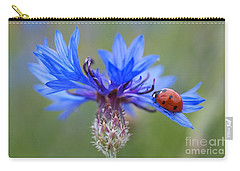 Carry-all Pouch featuring the photograph Cornflower Ladybug Siebenpunkt Blue Red Flower by Paul Fearn