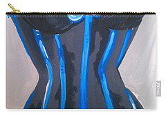 Corset Blue Lace Carry-all Pouch by Marisela Mungia