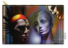 Carry-all Pouch featuring the digital art Cosmic Mannequins Triad by Rosa Cobos
