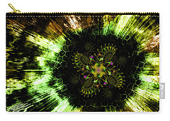 Carry-all Pouch featuring the digital art Cosmic Solar Flower Fern Flare by Shawn Dall