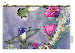 Costa Hummingbird Family Carry-all Pouch by Marilyn Smith