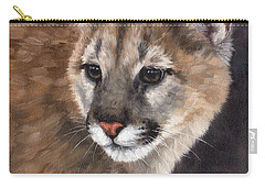 Cougar Cub Painting Carry-all Pouch by Rachel Stribbling