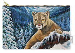 Carry-all Pouch featuring the painting Cougar Sedona Red Rocks  by Bob and Nadine Johnston