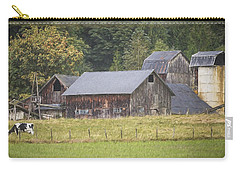 Carry-all Pouch featuring the painting Country Art - Rustic Old Barns With Cow In The Pasture by Jordan Blackstone