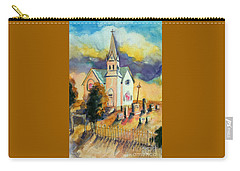 Carry-all Pouch featuring the painting Country Church At Sunset by Kathy Braud