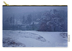 Carry-all Pouch featuring the photograph Country Snowstorm Landscape Art Prints by Valerie Garner