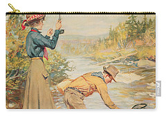 Couple Fishing On A River Carry-all Pouch by Anonymous
