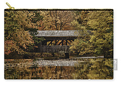 Carry-all Pouch featuring the photograph Covered Bridge At Sturbridge Village by Jeff Folger
