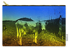 Carry-all Pouch featuring the digital art Cow On Lsd by Cathy Anderson