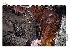 Cowboy And His Horse Carry-all Pouch by Steven Reed