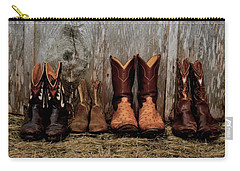 Cowboy Boots And Wood Carry-all Pouch