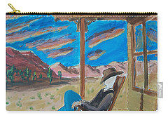 Cowboy Sitting In Chair At Sundown Carry-all Pouch
