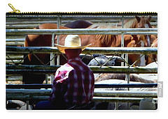 Carry-all Pouch featuring the photograph Cowboys Corral by Susan Garren