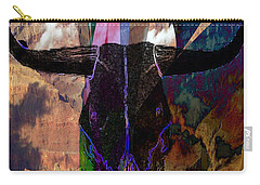 Carry-all Pouch featuring the digital art Cowskull Over The Canyon by Cathy Anderson
