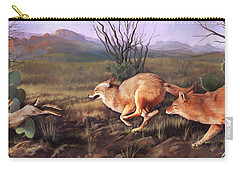 Carry-all Pouch featuring the painting Coyote Run by Rob Corsetti