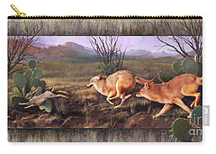 Carry-all Pouch featuring the painting Coyote Run With Boarder by Rob Corsetti
