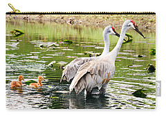 Crane Family Goes For A Swim Carry-all Pouch by Susan Molnar