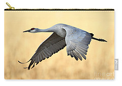 Crane Over Golden Field Carry-all Pouch by Bryan Keil