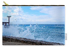 Carry-all Pouch featuring the photograph Crashing Waves In Cozumel by Debra Martz