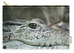 Carry-all Pouch featuring the photograph Crocodile Animal Eye Alligator Reptile Hunter by Paul Fearn