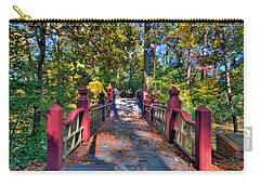 Carry-all Pouch featuring the photograph Crossing The Crim Dell Bridge by Jerry Gammon