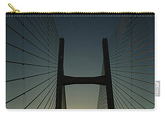 Carry-all Pouch featuring the photograph Crossing The Severn Bridge At Sunset - Cardiff - Wales by Vicki Spindler
