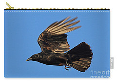 Carry-all Pouch featuring the photograph Crow In Flight by Meg Rousher