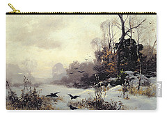 Crows In A Winter Landscape Carry-all Pouch by Karl Kustner