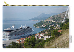 Carry-all Pouch featuring the photograph Cruise Ship Riviera - Dubrovnik by Phil Banks