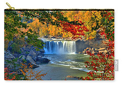 Carry-all Pouch featuring the photograph Cumberland Falls In Autumn 2 by Mel Steinhauer