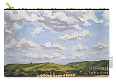 Carry-all Pouch featuring the painting Cumulus Clouds Over Flint Hills by Erin Fickert-Rowland