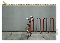 Carry-all Pouch featuring the photograph Curved Rack In Red - Urban Parking Stalls by Steven Milner