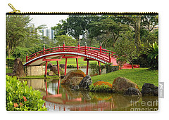 Carry-all Pouch featuring the photograph Curved Red Japanese Bridge And Stream Chinese Gardens Singapore by Imran Ahmed