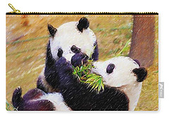 Carry-all Pouch featuring the painting Cute Pandas Play Together by Lanjee Chee