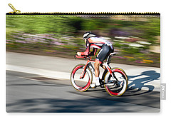 Carry-all Pouch featuring the photograph Cyclist Racing The Clock by Kevin Desrosiers