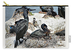 Carry-all Pouch featuring the photograph Dad And Mom Building The Best Nest by Susan Wiedmann