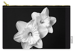 Daffodil Flowers Black And White Carry-all Pouch by Jennie Marie Schell
