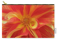 Dahlia Unfurling In Yellow And Red Carry-all Pouch