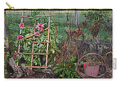 Dahlias And Chickens Carry-all Pouch by Denise Romano